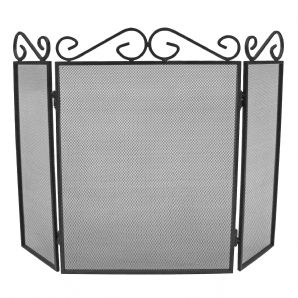 Scroll Top 3 Fold Fireguard - Black